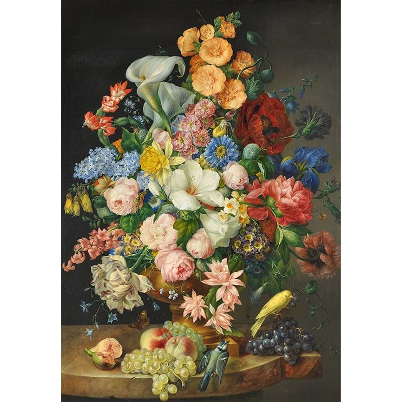 Franz Xaver Petter (Austrian 1791-1866), 'Still life of flowers including lilies, poppies, roses, tulips together with fruit and birds', Oil on canvas
