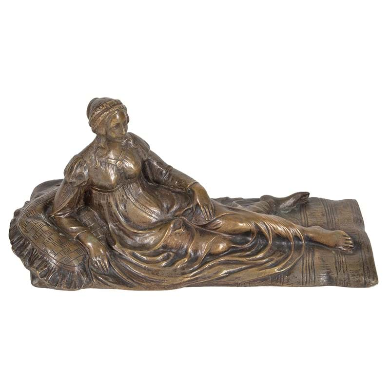 A French gilt bronze model of a reclining maiden, possibly representing Venus, late 19th century