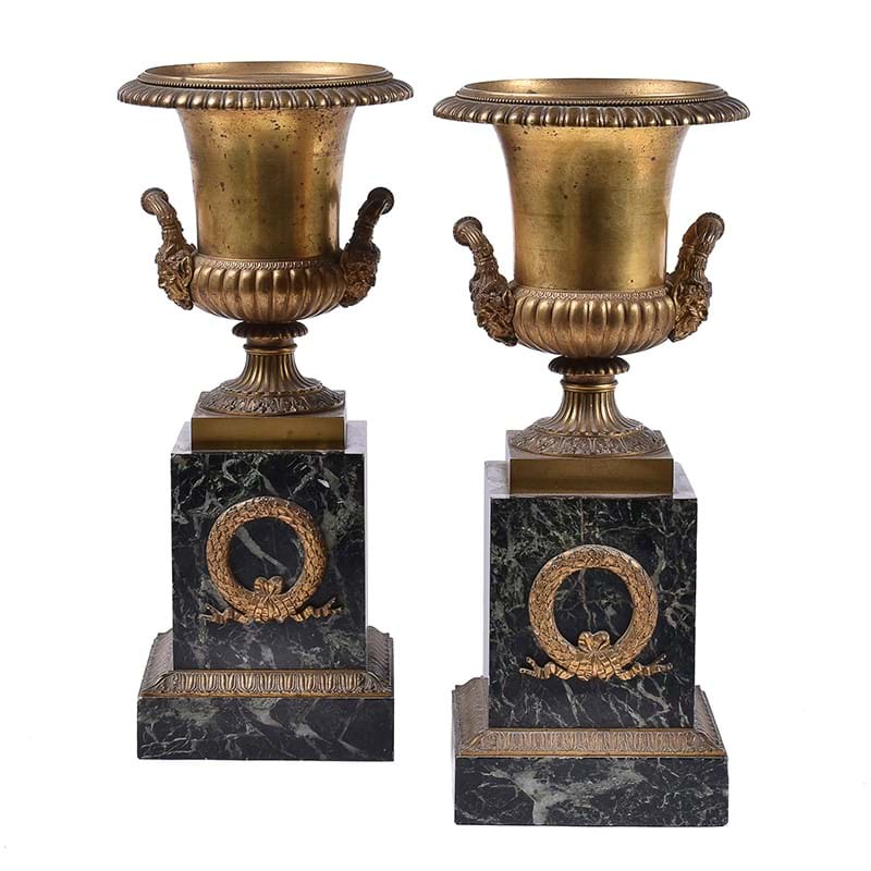 A pair of Continental gilt bronze and marble mounted twin handled urns, third quarter 19th century