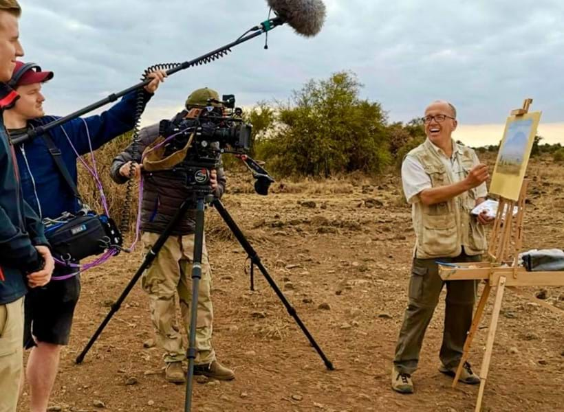 Inline Image - Wildlife Artist Jonathan Truss at work in Kenya