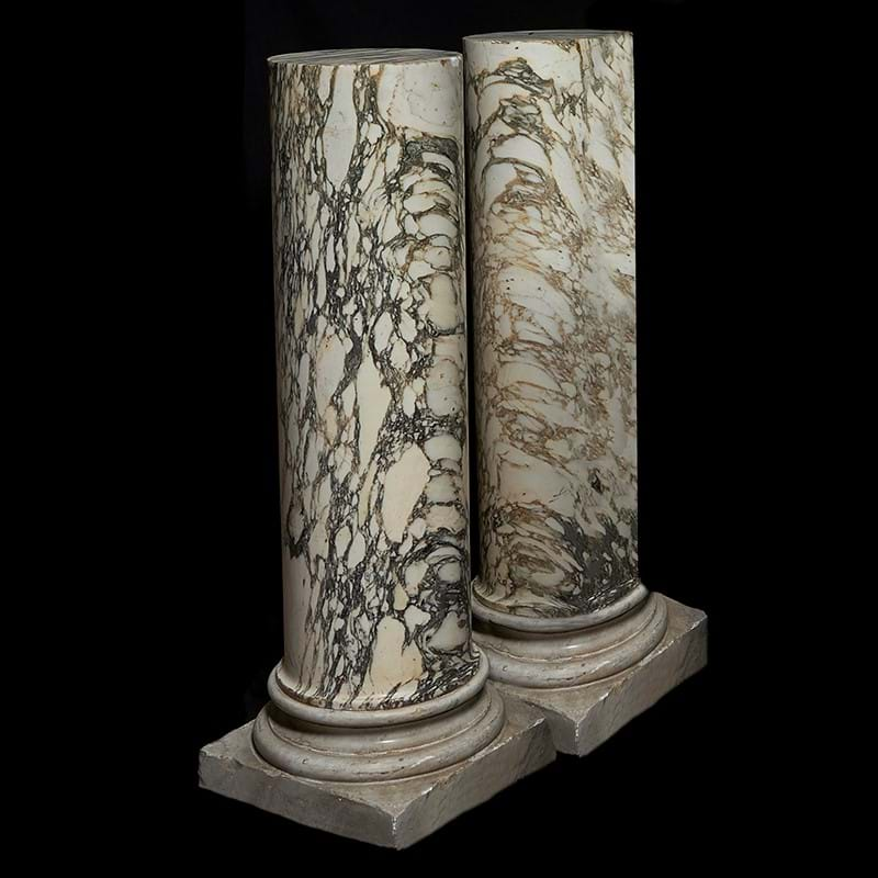 A pair of Breche Violette and white marble mounted columnar pedestals, 19th century