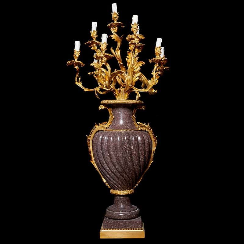 A pair of monumental ten light porphyry and gilt bronze mounted candelabra in Louis XV taste, 20th century