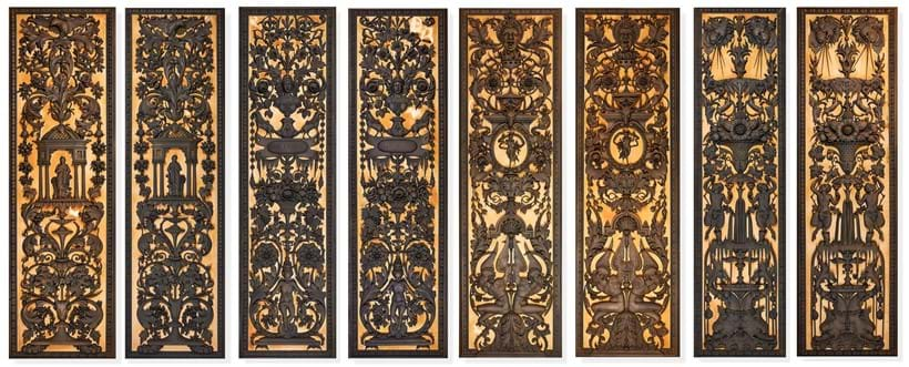 Inline Image - Above: A set of eight carved, bronzed wood panels by Anton Leone Bulletti, Florence, dated 1864, in the baroque style, composed of four pairs (Lot 248, 248A, 248B & 248C), each with a differing theme | Est. £5,000-8,000 (+fees) per lot