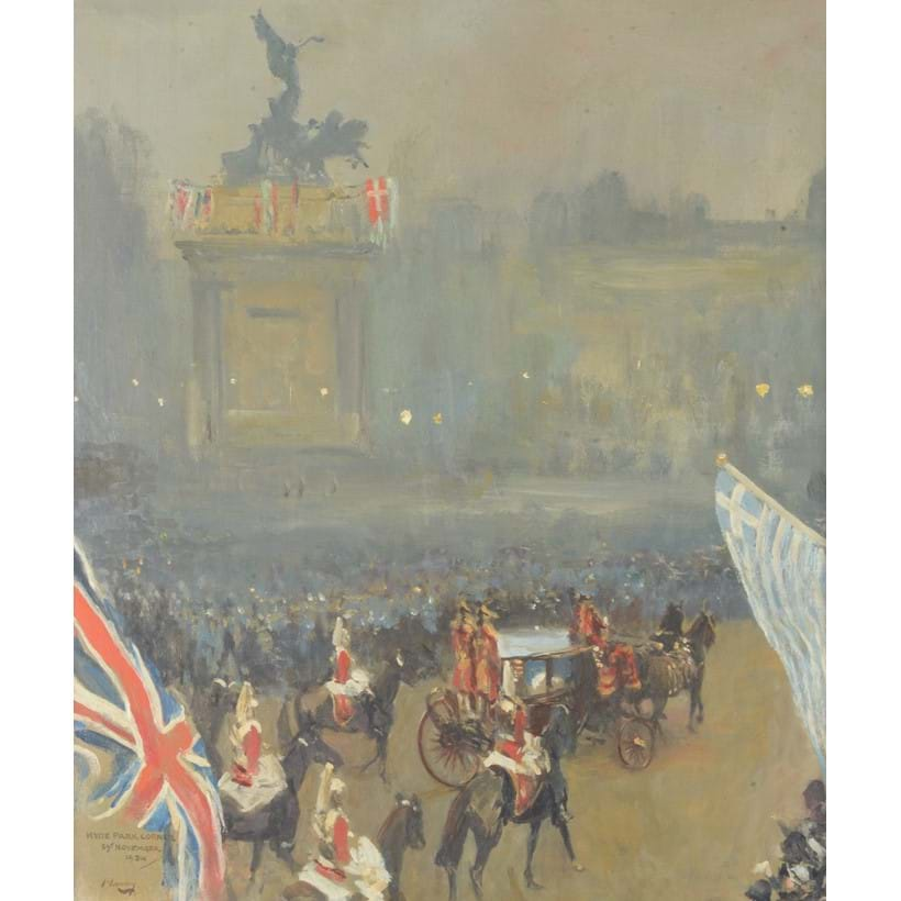 Inline Image - Sir John Lavery (Irish 1856-1941), 'Hyde Park Corner, 29th November 1934', Oil on board | Est. £20,000-30,000 (+fees)