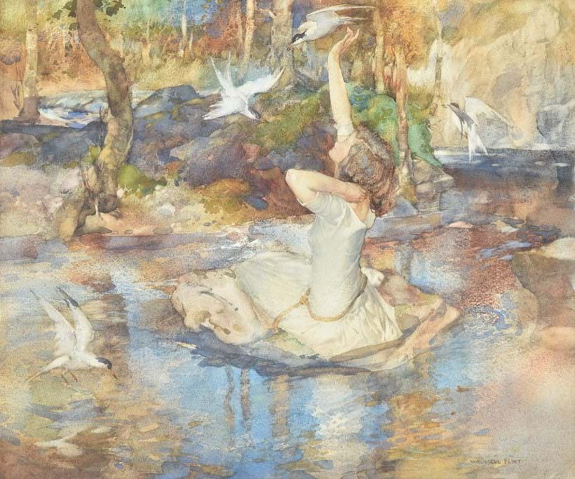 Inline Image - Sir William Russell Flint (Scottish 1880-1969), 'Young girl in a white dress, seated on a rock at the waters edge, circled by birds', Watercolour heightened with white | Est. £1,500-2,000 (+fees)