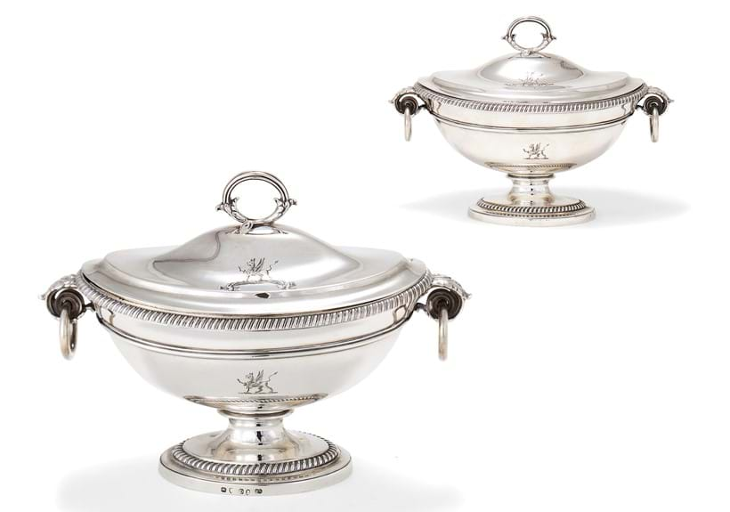 Inline Image - Lot 17: A pair of George III silver oval pedestal sauce tureens and covers by Paul Storr, London 1799 | Est. £3,000-5,000 (+fees)
