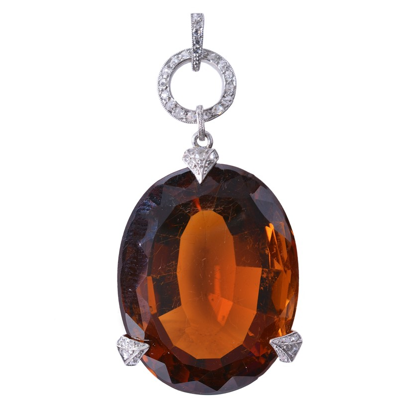 Inline Image - Lot 152: An early twentieth century citrine and diamond pendant by Georges Fouquet, circa 1920 | Est. £3,000-5,000 (+fees)
