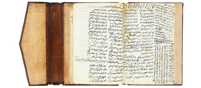 "Inline Image - Lot 57: Abd al-Ghani al-Nabulsi, Al-Hadra al-Unsiyya fi al-Rihla al-Qudsiyya, also known as ""al-Rihla al-Wustd"" (a travel journal for al-Nabulsi's journey to Palestine, specifically Jerusalem and Hebron), among other extracts, working authorial manuscript copy and first appearance of the text, in Arabic, decorated manuscript on paper [various places throughout the Ottoman Levant, probably c. 1101 AH (1690 AD)] 