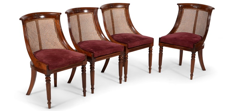 Inline Image - Lot 166: A set of ten mahogany library bergere chairs, in the manner of Gillows | Est. £3,000-5,000 (+fees)