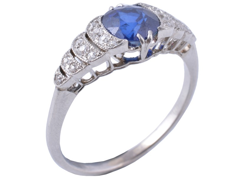Inline Image - Fine Jewellery, Watches, Silver and Objects of Vertu, 18 March | A sapphire and diamond ring, first half 20th century | Sold for £1,187.50
