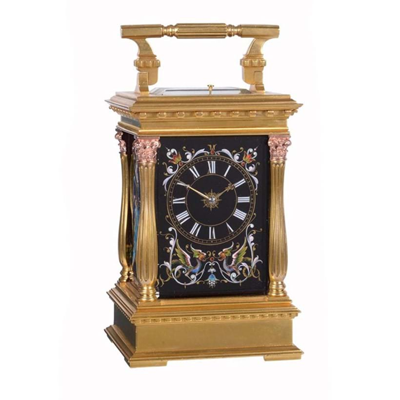 Inline Image - Lot 129: A very fine Limoges enamel panelled gilt brass cased carriage clock with push-button repeat and alarm, Probably by A. Dumas, Paris, circa 1878 | Est. £5,000-7,000 (+fees)