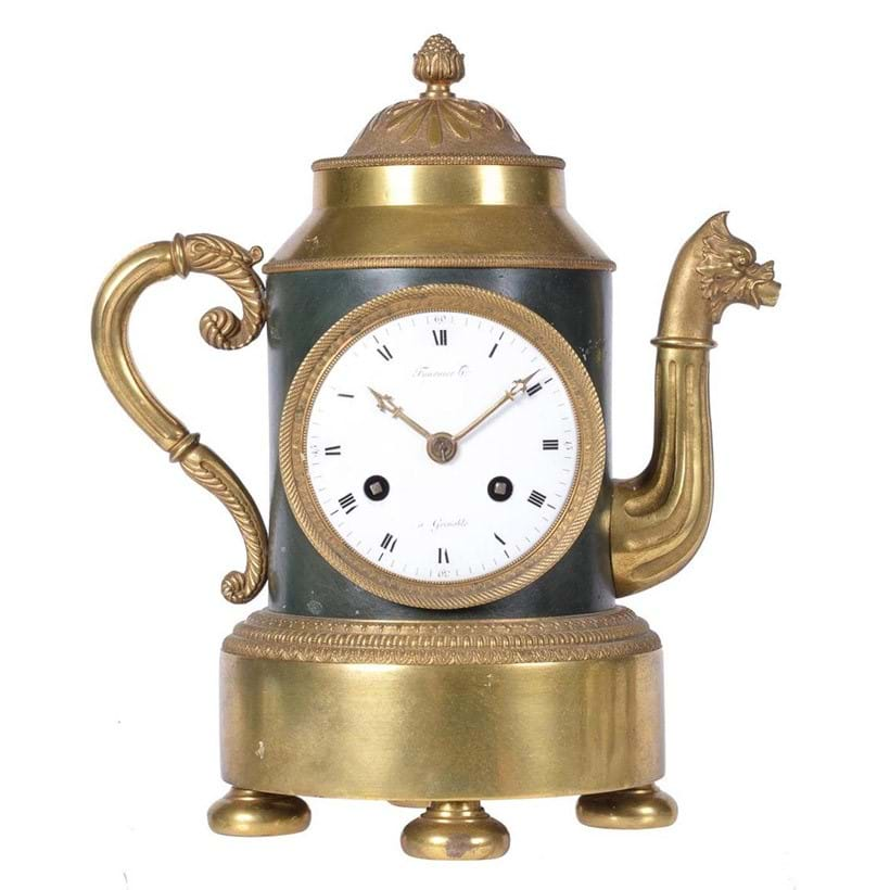 Inline Image - Lot 145: A fine and rare French Empire ormolu and patinated bronze mantel clock in the form of a teapot, Fournier horologer, Grenoble, the case by Claude Galle, Paris, early 19th century | Est. £5,000-8,000 (+fees)