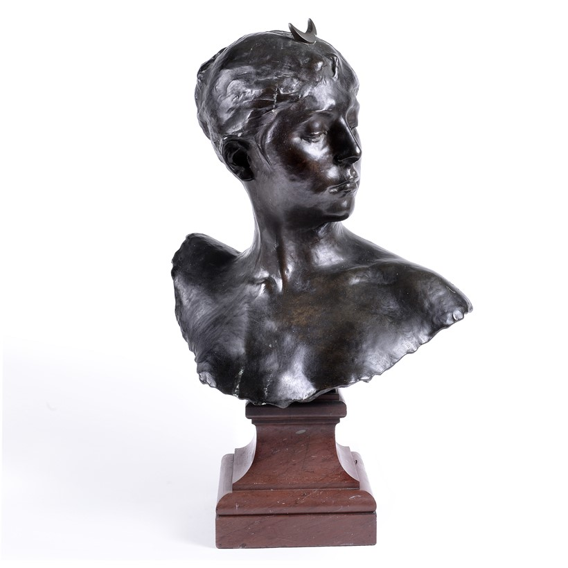 Inline Image - Lot 271: Jean-Joseph-Alexandre Falguière (French, 1831-1900), a patinated bronze bust of Diana the Huntress, cast by the Thiebaut Frères, circa 1890 | Est. £1,000-1,500 (+fees)