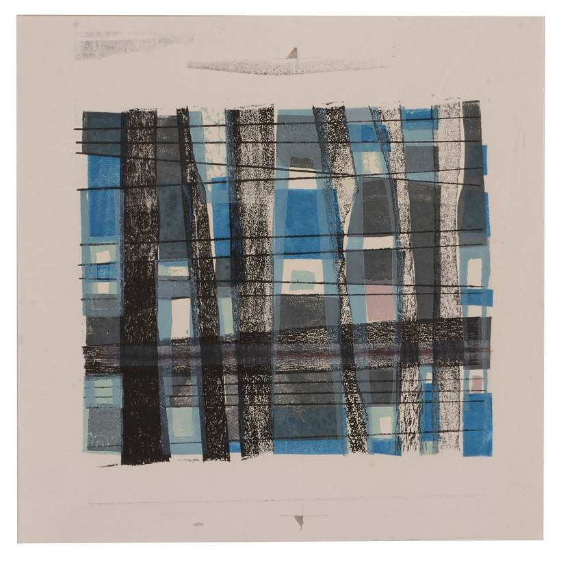 Inline Image - Rosemary Ellis (British 1910 - 1998), 'Linear Abstract (blue and pink)',   Mixed media