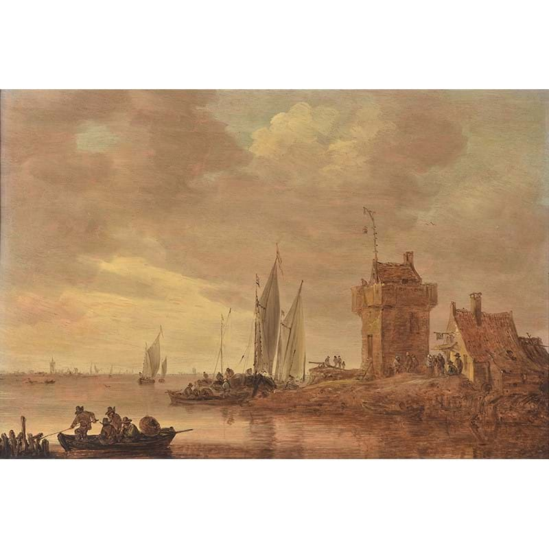 Jan Josefsz. van Goyen (Dutch 1596-1656), 'An estuary landscape on the Rhine with square tower and tall gallows signal', Oil on panel
