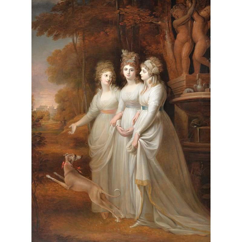 Richard Clack (British 1804-1875) after Richard Cosway, 'Lucy, Harriet and Caroline, daughters of William Courtenay', Oil on canvas
