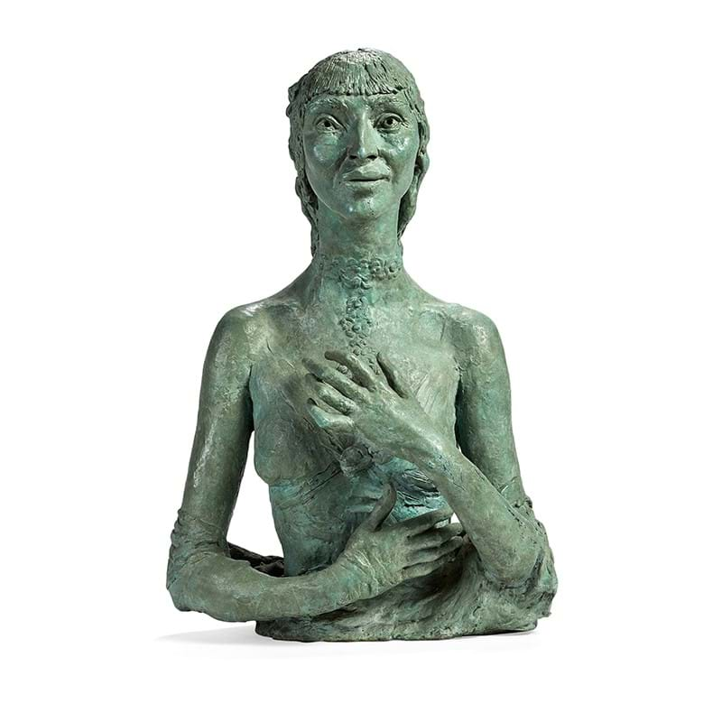 Sir Jacob Epstein (British 1880-1959), 'Fifth Portrait of Kathleen', A bronze with a pale green patina