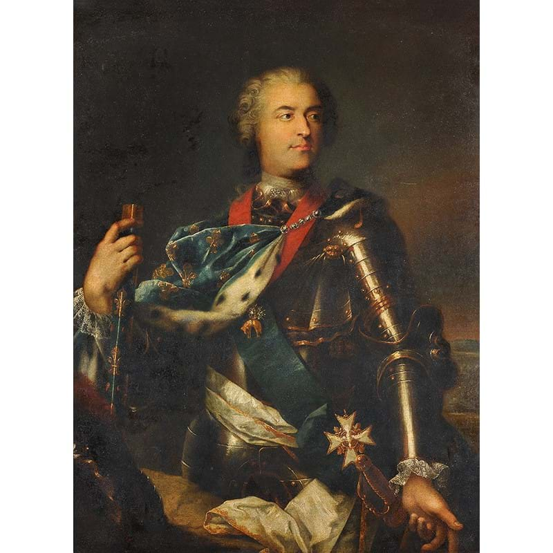 Circle of Jean-Baptiste Van Loo (French 1684-1745), 'Portrait of King Louis XV (1710-1774), three-quarter-length, in armour with a blue fleur-de-lys embroidered ermine-lined wrap, with the Order of the Golden Fleece and Saint Esprit, holding a baton', Oil on canvas