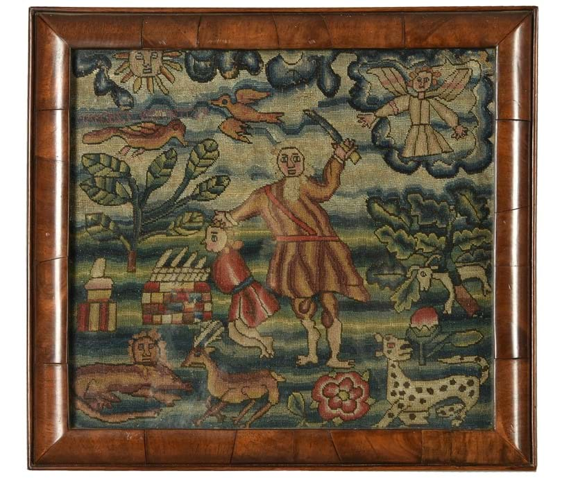 Inline Image - A George II Biblical needlework panel depicting the sacrifice of Isaac | Sold for £5,625 | Fine Furniture, Carpets, Ceramics and Works of Art, 26 June 2019