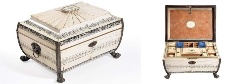 Inline Image - An Anglo Indian silver metal mounted ivory work box, Vizagapatam, first half 19th century | Sold for £2,480 | Fine Furniture, Carpets, Ceramics and Works of Art, 5 September 2018