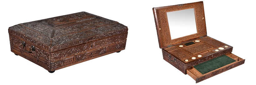 Inline Image - An Anglo Indian, probably Mysore, sandalwood sewing box, circa 1880 | Sold for £558 | Interiors, 31 October 2018
