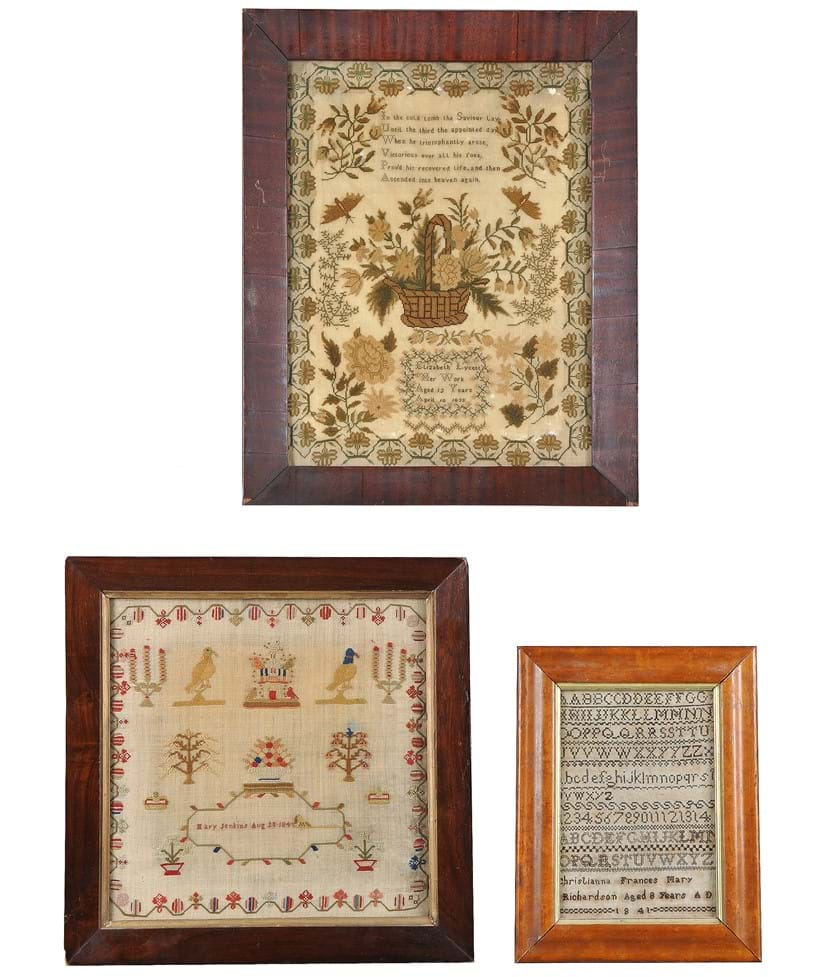 Inline Image - A needlework sampler by Elizabeth Lycett, dated 1835; another sampler by Mary Jenkins, dated 1845;  and an alphabet sampler by Christianna Frances Mary Richardson, dated 1841 | Sold for £325 | Interiors, 11 December 2019
