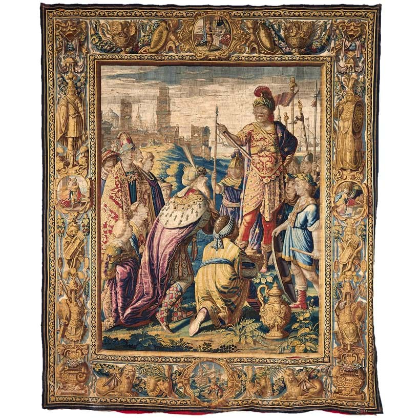 Inline Image - A Flemish historical tapestry, probably Brussels, after Karel van Mander II, second quarter 17th century, The Triumph of Mark Anthony over the Parhians, from the Mark Antony and Cleopatra cycle | Sold for £150,000 | The Collection of Sir William Whitfield CBE, 10 March 2020