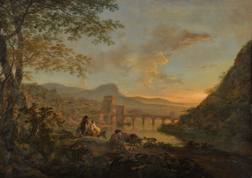 Inline Image - Jan Dirksz. Both (Dutch 1615/18-1652), 'A view of Ponte Molle at dusk with figures and animals to the foreground', Oil on canvas | Sold for £60,000