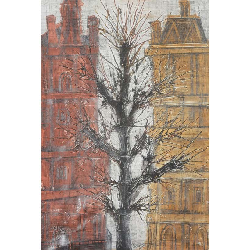 Inline Image - Francis Newton Souza (Indian 1924-2002), 'Street scene with two houses and a tree', Gouache and graphite on paper | Sold for £60,000