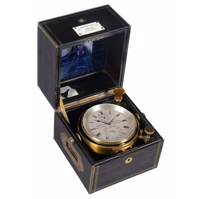 A Victorian brass bound rosewood two-day marine chronometer, Parkinson and Frodsham, London, circa 1880