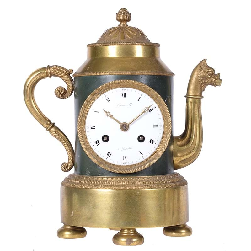 A fine and rare French Empire ormolu and patinated bronze mantel clock in the form of a teapot, Fournier horologer, Grenoble, the case by Claude Galle, Paris, early 19th century