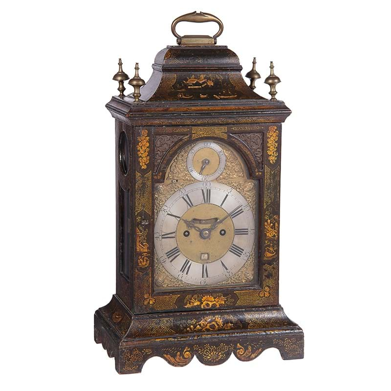A fine George III green japanned table clock with pull-quarter repeat on six bells, Marmaduke Storr, London, circa 1760