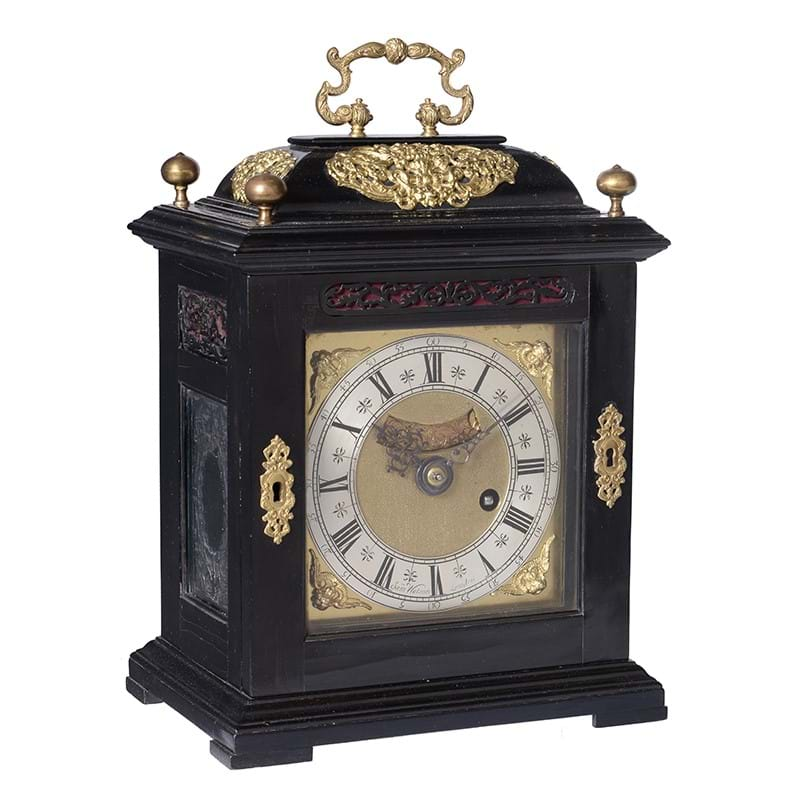 A fine and rare small William III ebony table timepiece with silent pull quarter repeat, Samuel Watson, London, circa 1695