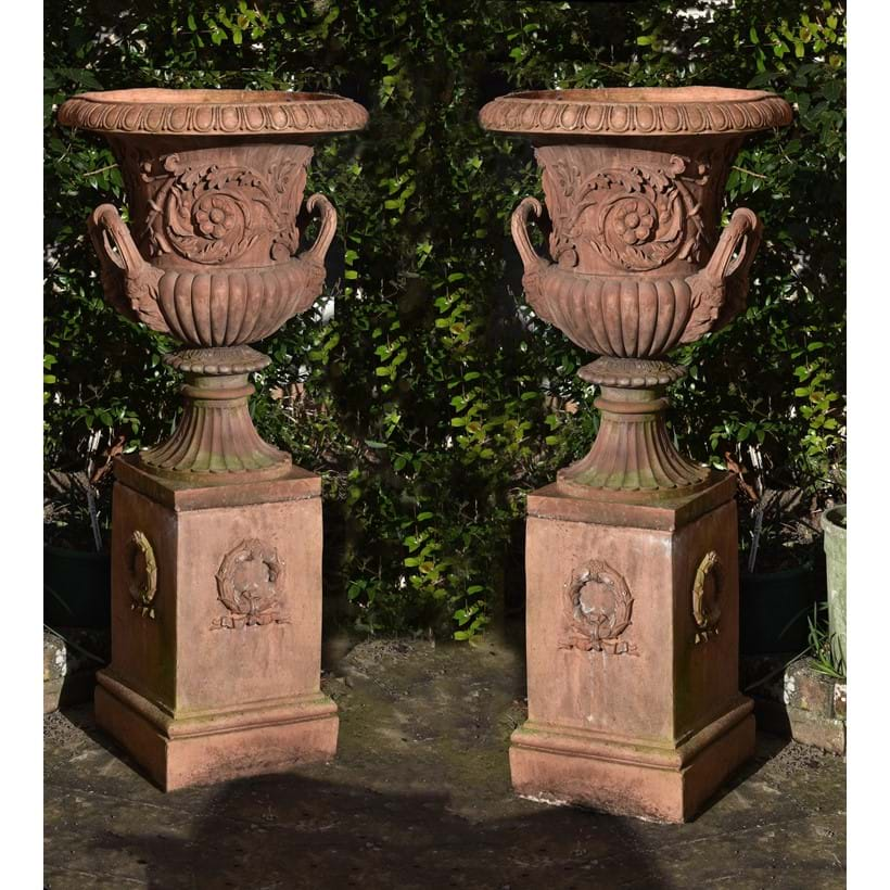 Inline Image - A pair of terracotta garden urns on plinths, second half 20th century Lot 161, 28 June 2018, sold for £2,232 incl. premium