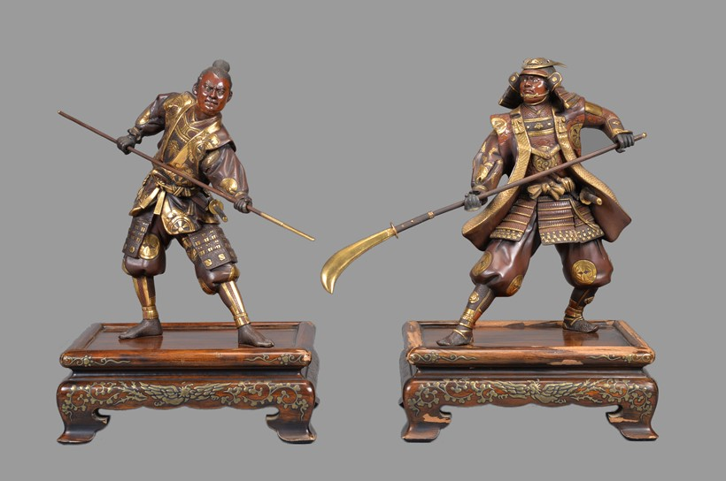 Inline Image - Lot 83: Gyokko: Two Japanese Parcel Gilt Bronze Figures of Warriors | Est. £3,000-5,000 (+fees)