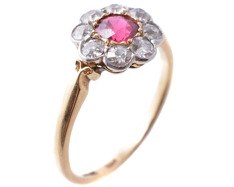 Inline Image - Lot 244: An early twentieth century spinel and diamond ring, circa 1920, the central circular cut spinel within a surround of old cut diamonds | Est. £250-350 (+fees)