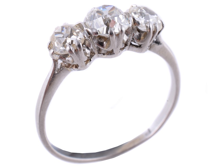Inline Image - Lot 368: A diamond three stone ring, set with three old cut diamonds | Est. £500-700 (+fees)