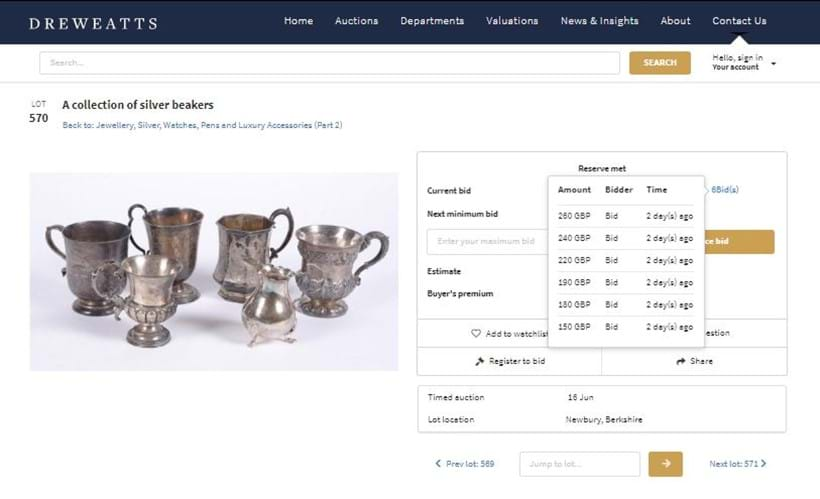 Inline Image - Dreweatts timed online bidding screen showing the bidding history