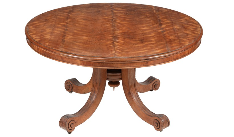 Inline Image - Lot 224: A Late George IV/Victorian solid satin birch circular centre library table | Est. £1,000-1,500 (+fees)