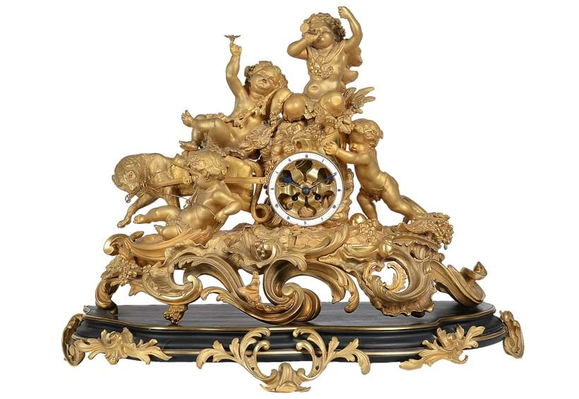 "Inline Image - Lot 82: A late 19th century French ormolu figural ""chariot"" mantel clock after the model by Frédéric-Eugène Piat 
