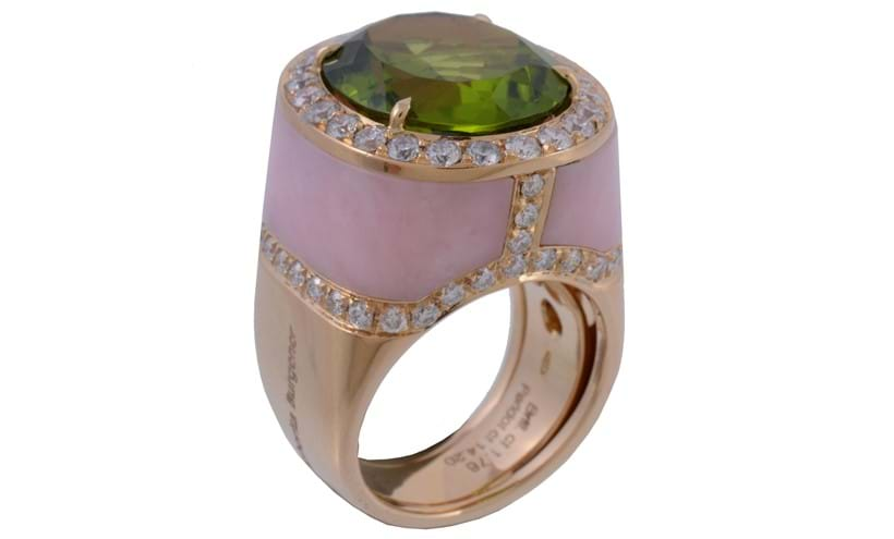 Inline Image - A peridot, rose quartz and diamond ring by Margherita Burgener | Sold for £3,000 (hammer price), November 2016