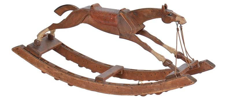 Inline Image - Lot 120: A carved beech and parcel painted rocking horse, probably dating from the 19th century | Est. £200-300 (+fees)