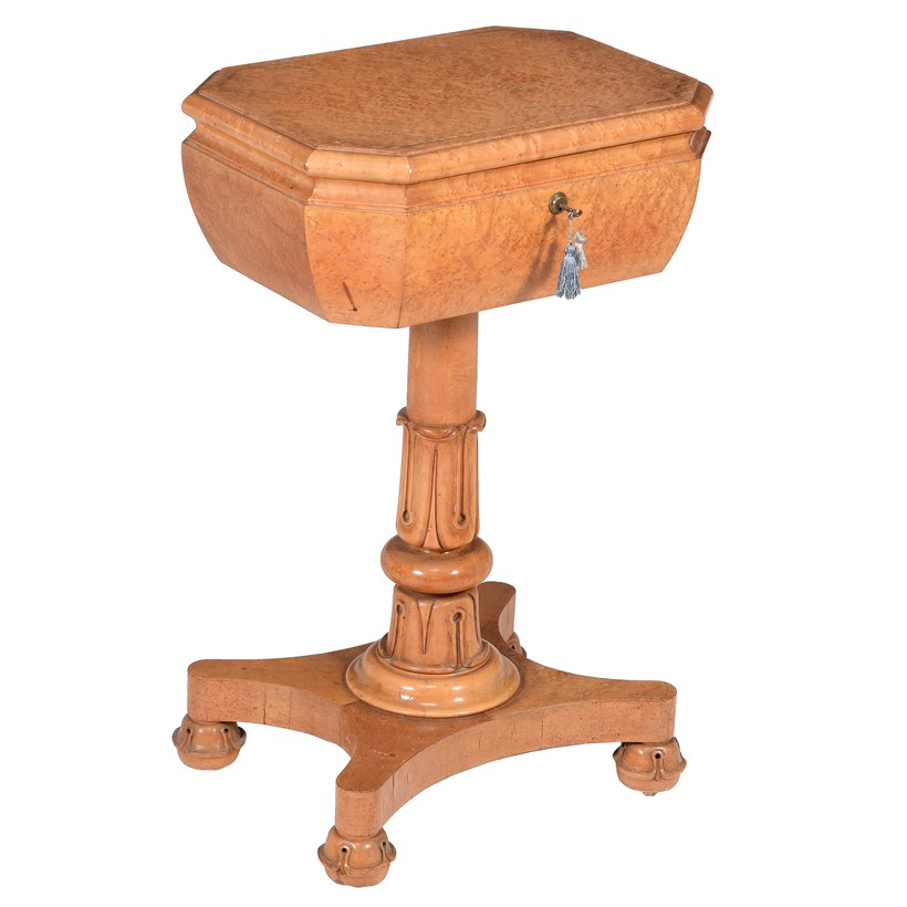 Inline Image - Lot 74: A William IV bird's-eye maple teapoy | Est. £300-500 (+fees)