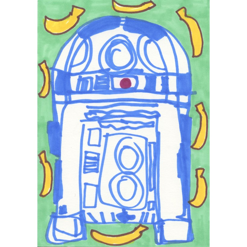 Inline Image - Lot 55: Katherine Bernhardt, 'R2D2, 2019', Pen on paper | Sold for £1,200