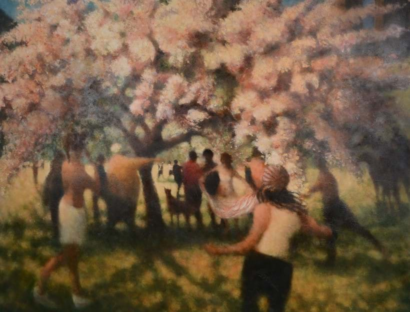 Inline Image - Lot 53: Bill Jacklin (British b. 1943), 'Cherry Tree with Dog, Great Lawn', Oil on canvas | Sold for £18,750 (incl. buyer's premium)