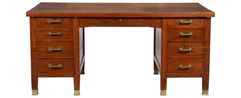 Inline Image - Lot 321: A figured hardwood pedestal desk, almost certainly by Globe Wernicke (London), early 20th century | Est. £600-800 (+fees)