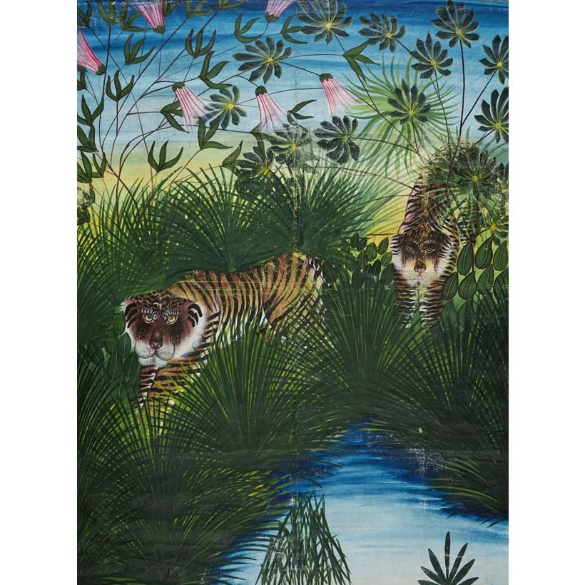 Inline Image - Lot 107: Jungle scene with Two Tigers, large Pichwai-style painting on linen for use as wall hanging [India (possibly Kota), c. 1920] | Est. £600-800 (+fees)