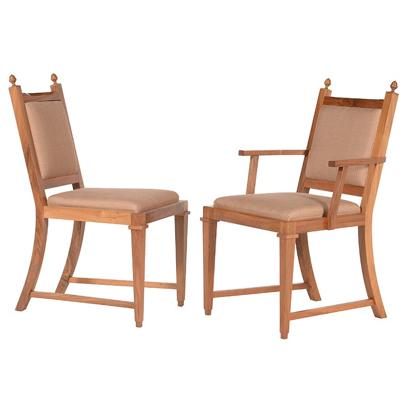 David Linley, a set of eighteen solid English walnut dining chairs, circa 2000