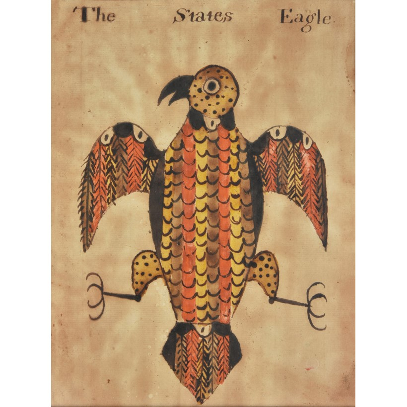Inline Image - Lot 99: American School (early 19th century), 'The States Eagle', Pen, ink and watercolour