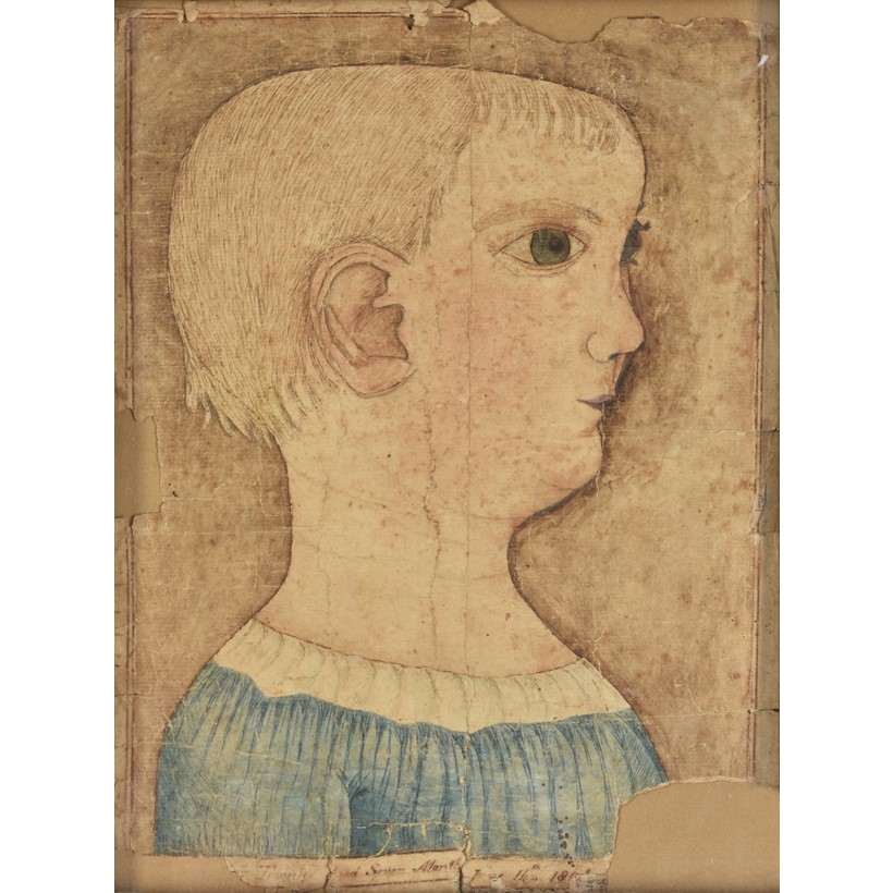 Inline Image - Lot 103: American Naive School (19th century), 'Portrait of a child', Pen, ink and watercolour | Est. £3,000-5,000 (+fees)